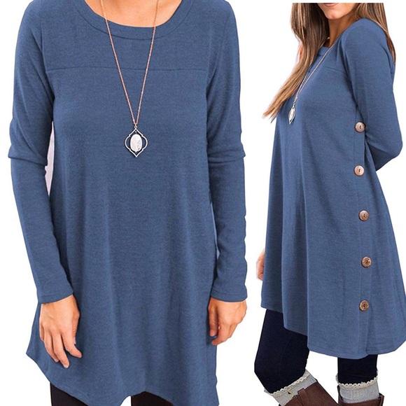 Dresses & Skirts - Periwinkle Blue Asymmetric Tunic Dress w/ Buttons